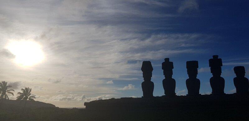 roteiro para ilha de pascoa moai na praia