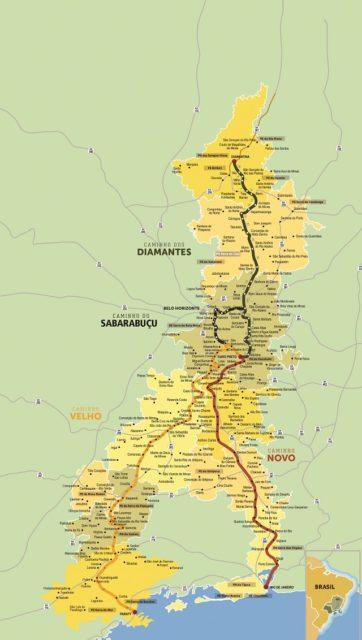 cidades da estrada real mapa de caminhos